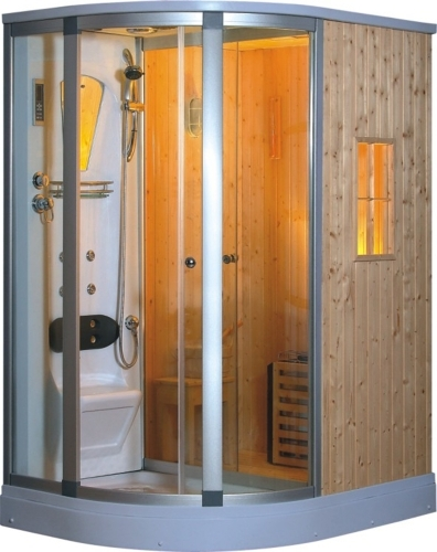 Left corner fully enclosed steam shower w sauna room fm for Fully enclosed shower