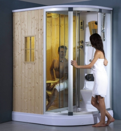 Right Corner Fully Enclosed Steam Shower w/ Sauna Room, FM Stereo & Phone  Adaptor