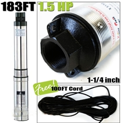 183FT 1.5HP 120V 18.5GPM Submersible Deep Well Pump w/ Built in Control Box