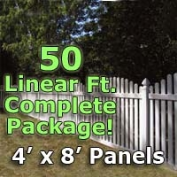 50 Ft Complete Solid Pvc Vinyl Open Top Arched Picket