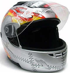 Silver Flip Up Modular Full Face Motorcycle/Snowmobile Helmet (DOT Approved)