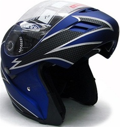 Matte Blue Flip Up Modular Full Face Motorcycle Helmet (DOT Approved)