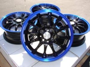 "Chrysler 200 Rims >> 15 Inch Black w/ Blue Lip Automotive Rims 15"" Wheels - Set of 4"