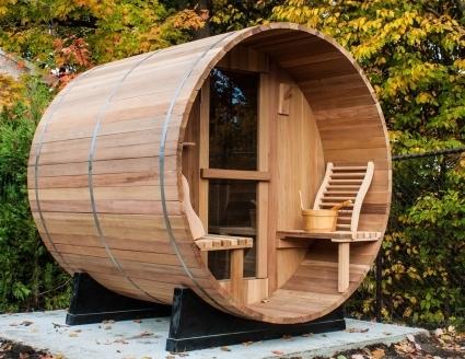 6 39 western red cedar outdoor barrel sauna w porch sauna for How to build a backyard sauna