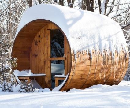 8 Six Person Nordic Pine Outdoor Barrel Sauna