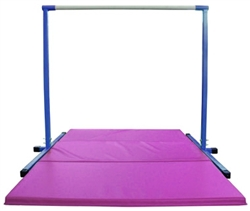 High Quality 4' Blue Horizontal Bar with Pink 6' Folding Mat