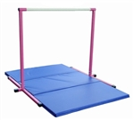 High Quality 4' Pink Horizontal Bar with Blue 6' Folding Mat