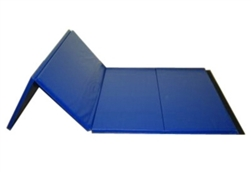 "High Quality Blue 4' x 8' x 1-3/8"" Folding Panel Gymnastics Mat"