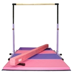 High Quality 3'-5' Purple Adjustable Bar with 8' Pink Beam and 8' Folding Mat