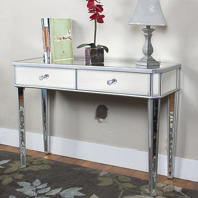 Mirrored Console Table Vanity Desk Mirror Glam 2 Drawers