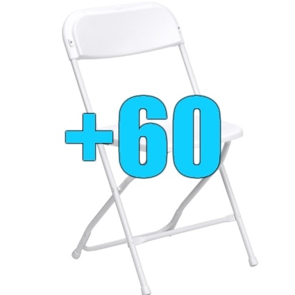 High quality package of 60 white steel frame folding chairs for Good quality folding chairs