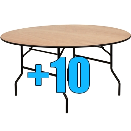 High quality package of 10 6ft round wood top folding tables for 10 foot round table