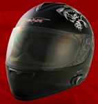 Adult All In Black Full Face Motorcycle Helmet with Bluetooth (DOT Approved)