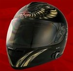 Adult Aviator Black Full Face Motorcycle Helmet with Bluetooth (DOT Approved)