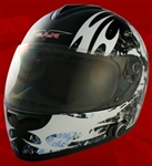 Adult Fearless Black Full Face Motorcycle Helmet with Bluetooth (DOT Approved)