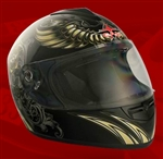 Adult Aviator Black Full Face Motorcycle Helmet (DOT Approved)