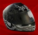 Adult Dark Angel Black Full Face Motorcycle Helmet (DOT Approved)