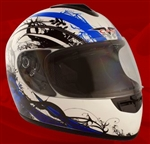 Adult Royal Blue Face Motorcycle Helmet (DOT Approved)