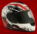 Adult Royal Red Face Motorcycle Helmet (DOT Approved)
