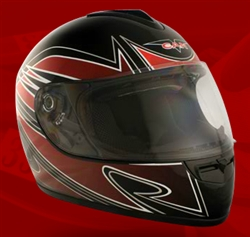 Adult Spartan Red Full Face Motorcycle Helmet (DOT Approved)