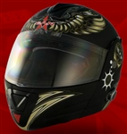 Adult Aviator Black Flip Up Motorcycle Helmet with Bluetooth (DOT Approved)