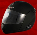 Adult Flat Black Flip Up Motorcycle Helmet with Bluetooth (DOT Approved)