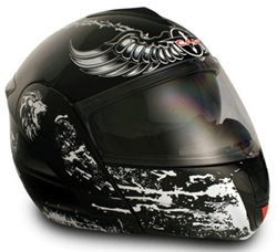 Adult Crusader Black Flip Up Motorcycle Helmet (DOT Approved)