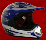 Youth Blue Glossy Motocross Helmet (DOT Approved)