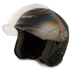 Adult Matte Black Metro Open Face Motorcycle Helmet (DOT Approved)