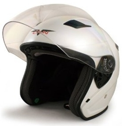 Adult White Metro Open Face Motorcycle Helmet (DOT Approved)