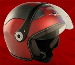 Adult Burgundy Open Face Motorcycle Helmet (DOT Approved)