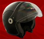 Adult Glossy Black Open Face Motorcycle Helmet (DOT Approved)