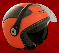 Adult Orange Open Face Motorcycle Helmet (DOT Approved)