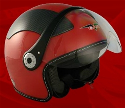 Adult Red Open Face Motorcycle Helmet (DOT Approved)