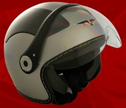 Adult Silver Open Face Motorcycle Helmet (DOT Approved)