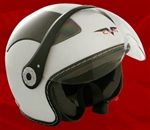 Adult White Open Face Motorcycle Helmet (DOT Approved)