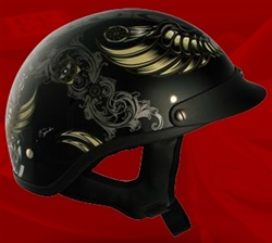 Adult Aviator Black Half Helmet Cruising Helmet (DOT Approved)