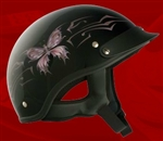 Adult Butterfly Black Half Helmet Cruising Helmet (DOT Approved)