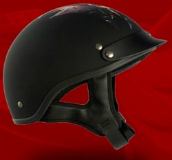 Adult Fire Flat Black Half Helmet Cruising Helmet (DOT Approved)
