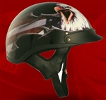 Adult USA Black Half Helmet Cruising Helmet (DOT Approved)
