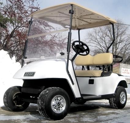 White Ez-Go 36 Volt Electric Golf Cart on ezgo 48 volt conversion kit, ezgo 36 volt golf cart, used club car golf cart,