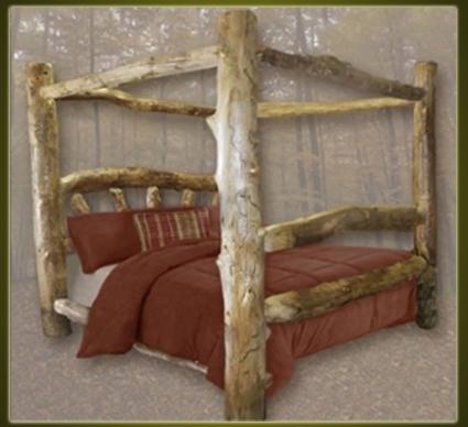 Brand New Custom Rustic Furniture Aspen Log Canopy Bed