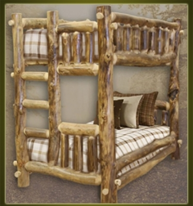 Brand New Traditional Rustic Furniture Log Bunk Bed