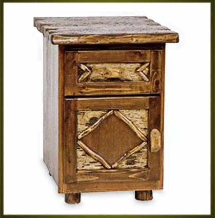 Brand new rustic furniture enclosed nightstand - Adirondack style bedroom furniture ...