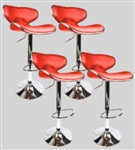 4 Swivel Red Elegant PU Leather Modern Adjustable Hydraulic Bar Stools