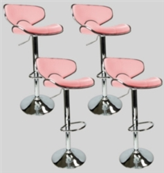 4 Pink Swivel Leather Modern Adjustable Hydraulic Bar Stools