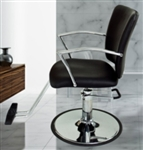 Black Leather Hydraulic Barber Chair With Chrome Footrest and Armrests
