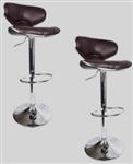 2 Swivel Brown Elegant Leather Modern Adjustable Hydraulic Bar Stools