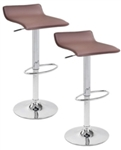 2 Mocha Brown Swivel Seat Modern Chrome Bar Stools