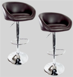 2 Swivel Seat Dark Brown Leather Modern Adjustable Hydraulic Bar Stools